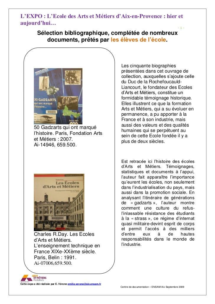 L'EXPO : L'Ecole des Arts et Métiers d'Aix-en-Provence : hier et aujourd'hui…                                             ...