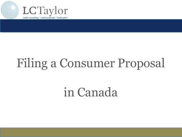 LCTaylor: Filing a Consumer Proposal in Canada