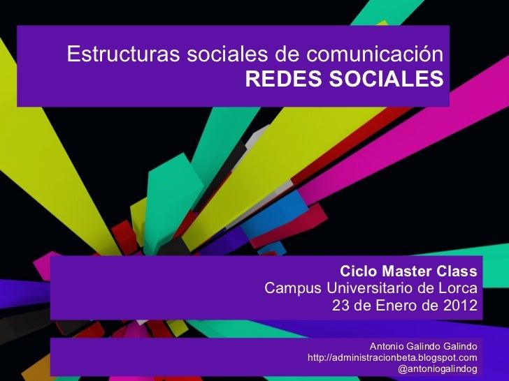 Estructuras sociales de comunicación                  REDES SOCIALES                           Ciclo Master Class         ...