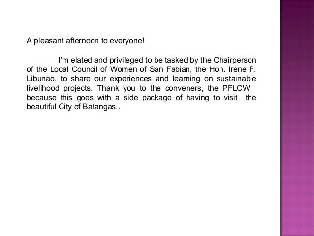 A pleasant afternoon to everyone!          I'm elated and privileged to be tasked by the Chairpersonof the Local Council o...