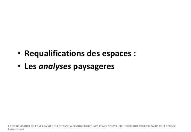 • Requalifications des espaces : • Les analyses paysageres ETUDE D'URBANITE RELATIVE A LA VIE DE LA DEFENSE, AUX NOUVEAX R...