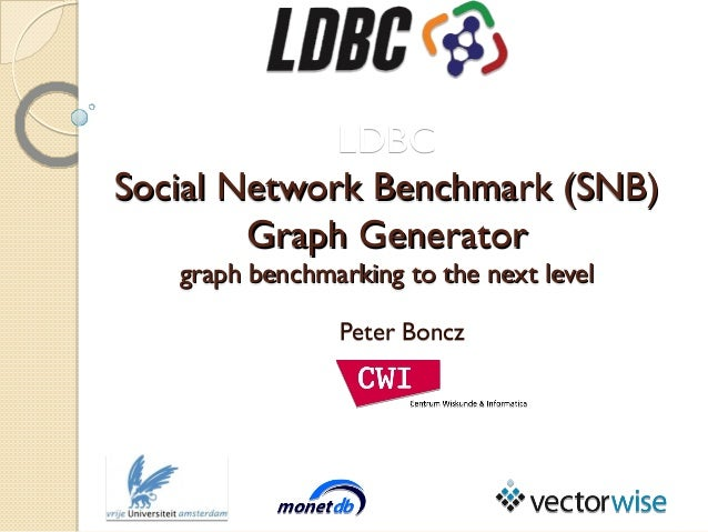 LDBC Social Network Benchmark (SNB) Graph Generator graph benchmarking to the next level Peter Boncz