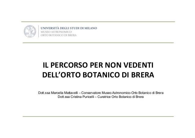 IL  PERCORSO  PER  NON  VEDENTI   DELL'ORTO  BOTANICO  DI  BRERA        Dott.ssa Marcella Mattavelli...