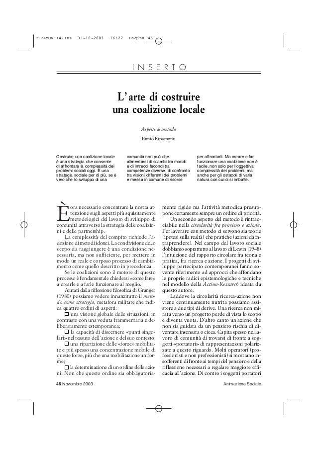 RIPAMONTI4.Ins  31-10-2003  16:22  Pagina 46  I N S E R T O  L' arte di costruire una coalizione locale Aspetti di metodo ...