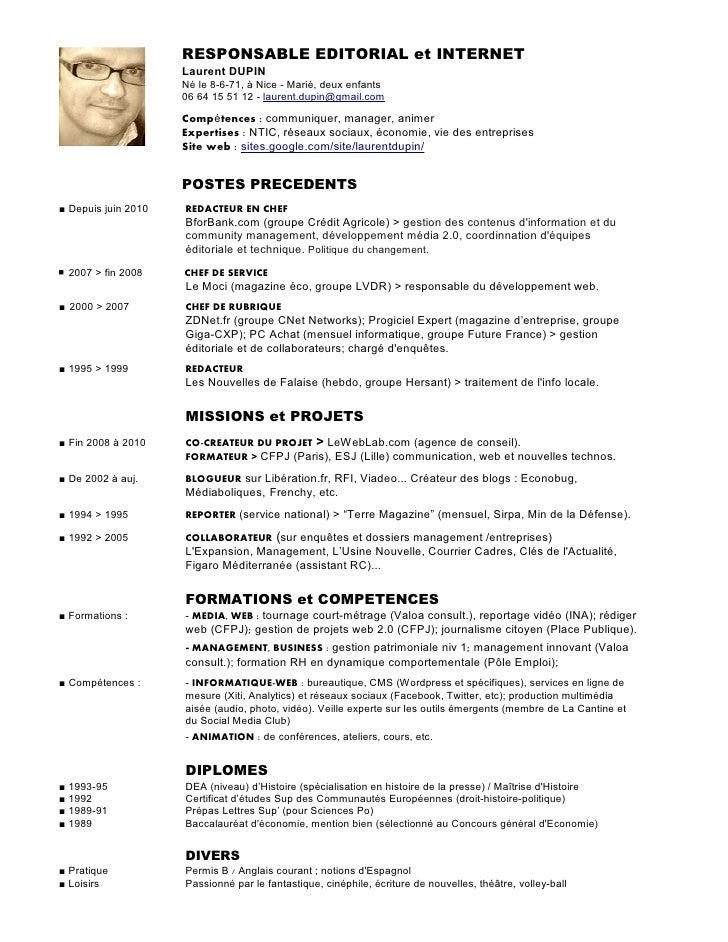 CV laurent dupin responsable editorial et internet  version 2012