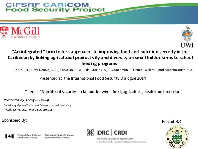 """""""An integrated """"farm to fork approach"""" to improving food and nutrition security in the Caribbean by linking agricultural p..."""