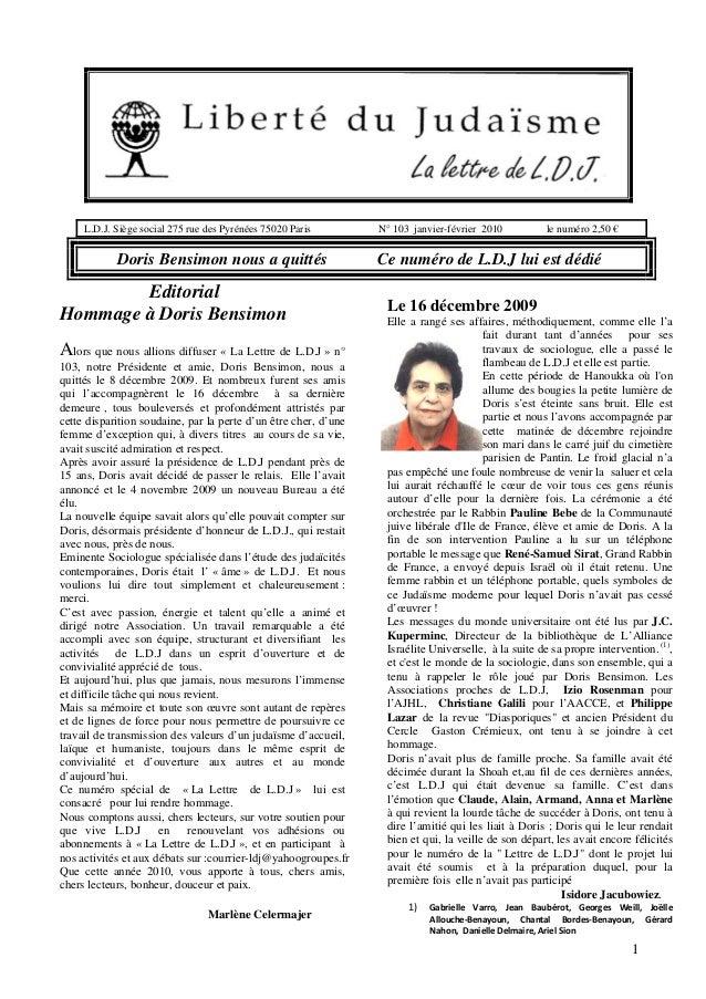 L.D.J. Siège social 275 rue des Pyrénées 75020 Paris  Doris Bensimon nous a quittés  Editorial Hommage à Doris Bensimon Al...