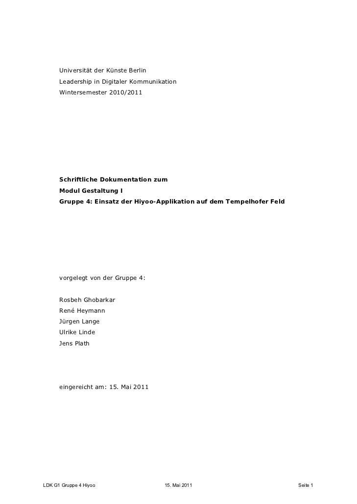 Universität der Künste Berlin      Leadership in Digitaler Kommunikation      Wintersemester 2010/2011      Schriftliche D...