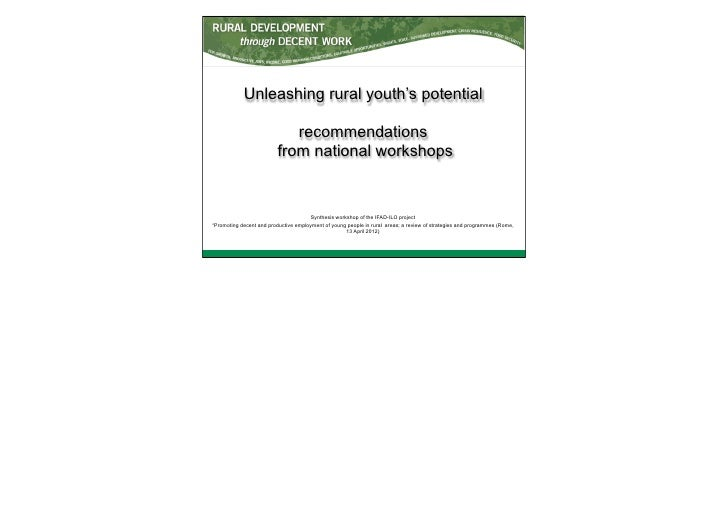 Unleashing rural youth's potential recommendations from national workshop