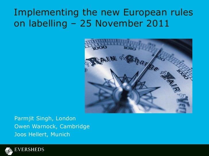 Food - European Food Webinar Presentation - 25 November 2011