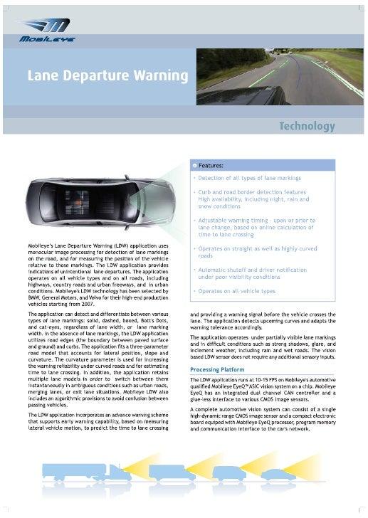 Lane Departure Warning Technology - Brochure