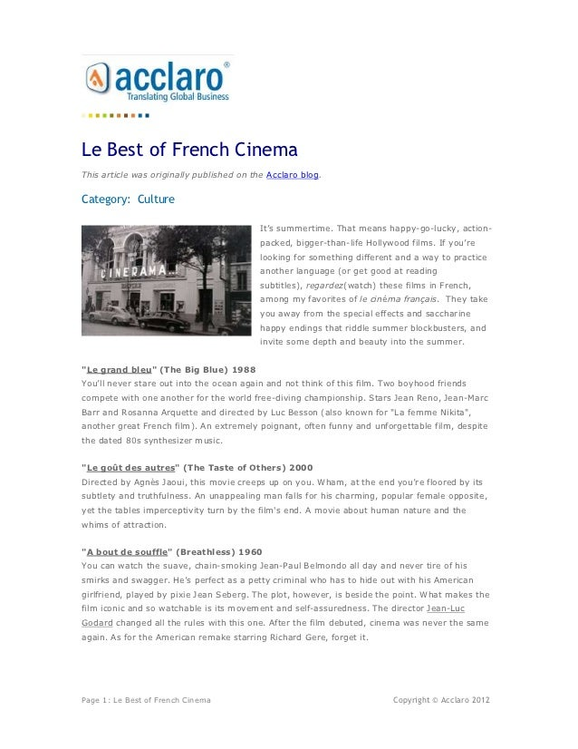 Le Best of French CinemaThis article was originally published on the Acclaro blog.Category: Culture                       ...