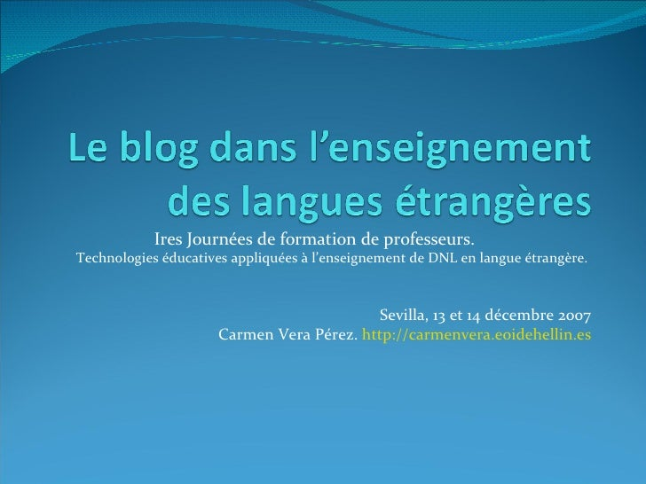 Le Blog Dans L'Enseignement Des Langues éTrangèRes