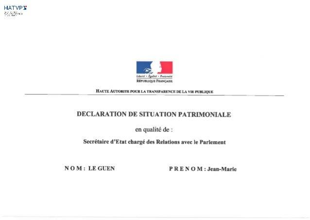 Déclaration de situation patrimoniale de Jean-Marie Le Guen - 23/06/2014