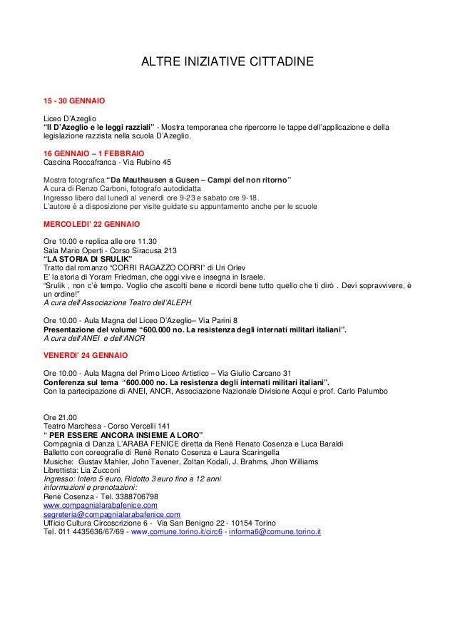"""ALTRE INIZIATIVE CITTADINE 15 - 30 GENNAIO Liceo D'Azeglio """"Il D'Azeglio e le leggi razziali"""" - Mostra temporanea che ripe..."""