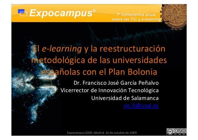 El eLearning y la reestructuración metodológica de las universidades españolas con el plan bolonia
