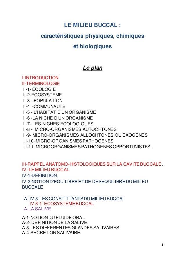 1 LE MILIEU BUCCAL : caractéristiques physiques, chimiques et biologiques Le plan I-INTRODUCTION II-TERMINOLOGIE II-1- ECO...