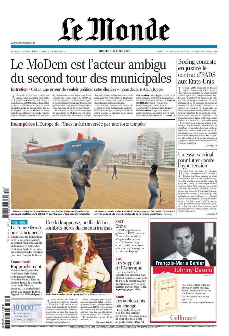 www.lemonde.fr                    64e Année - N˚19637 - 1,30 ¤ - France métropolitaine ---                                ...