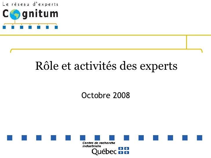 Rôle et activités des experts Octobre 2008