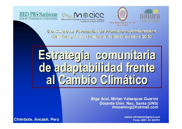 Estrategia comunitariaEstrategia comunitaria de adaptabilidad frentede adaptabilidad frente al Cambio Climal Cambio Climáá...