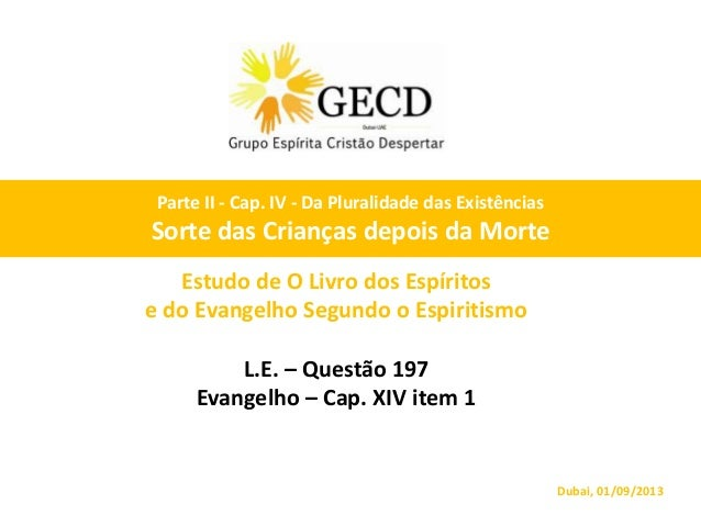 Estudo de O Livro dos Espíritos e do Evangelho Segundo o Espiritismo L.E. – Questão 197 Evangelho – Cap. XIV item 1 Dubai,...