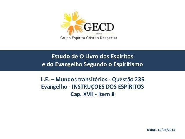 Dubai, 11/05/2014 Estudo de O Livro dos Espíritos e do Evangelho Segundo o Espiritismo L.E. – Mundos transitórios - Questã...