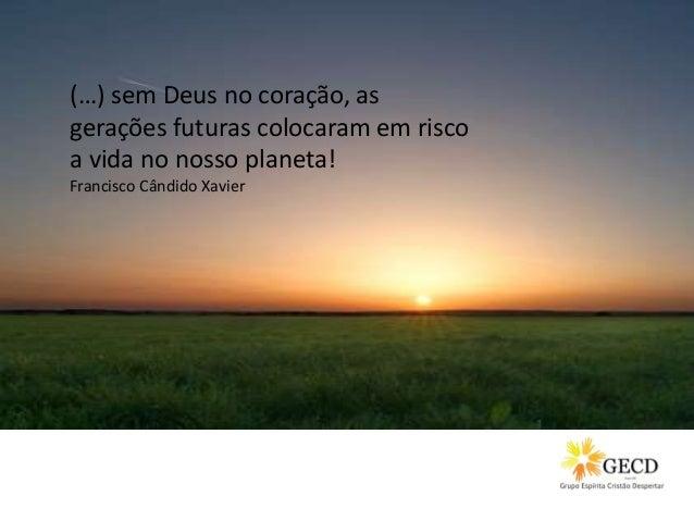 (…) sem Deus no coração, as gerações futuras colocaram em risco a vida no nosso planeta! Francisco Cândido Xavier