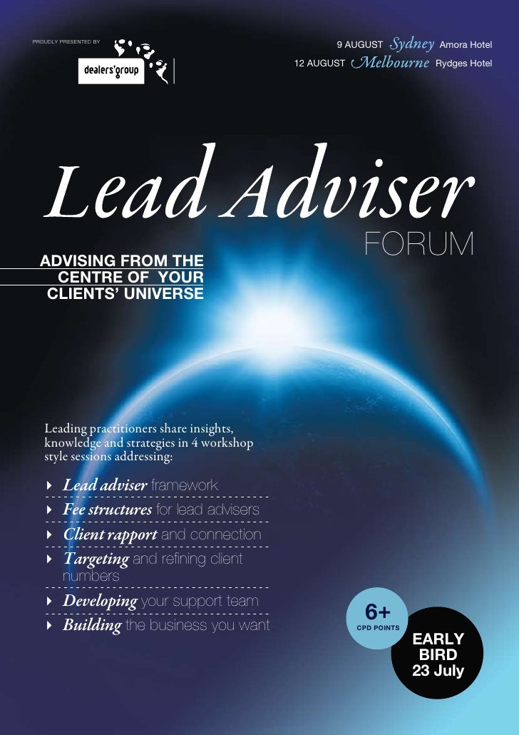 Lead advisor training
