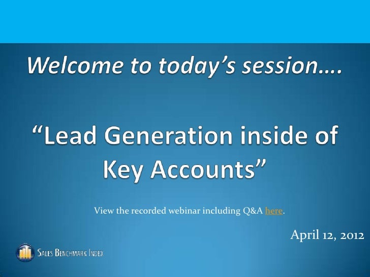 Lead Generation Inside of Key Accounts Webinar