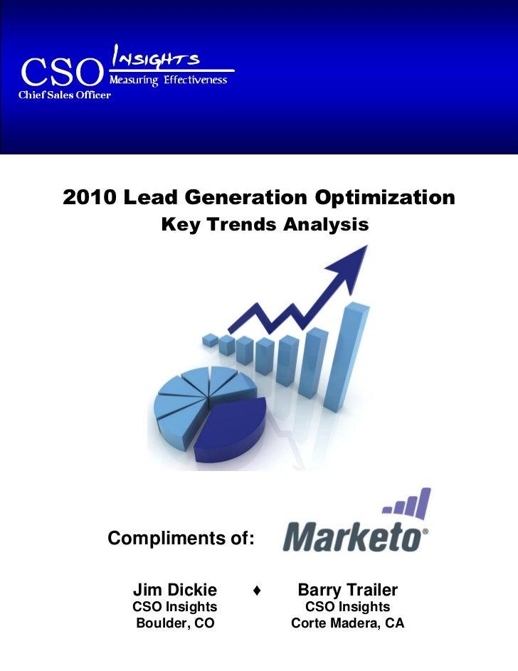2010 Lead Generation Optimization – Key Trends Analysis2010 Lead Generation Optimization          Key Trends Analysis   Co...