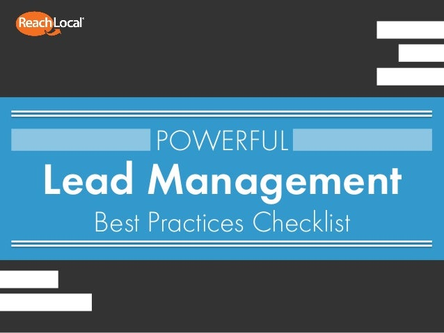 Lead Management Best Practices Checklist POWERFUL