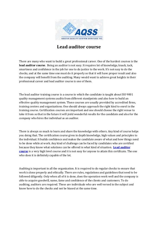 Lead auditor course There are many who want to build a great professional career. One of the hardest courses is the lead a...