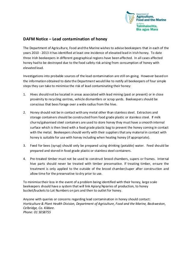 Lead contamination of Irish Honey - July 2014