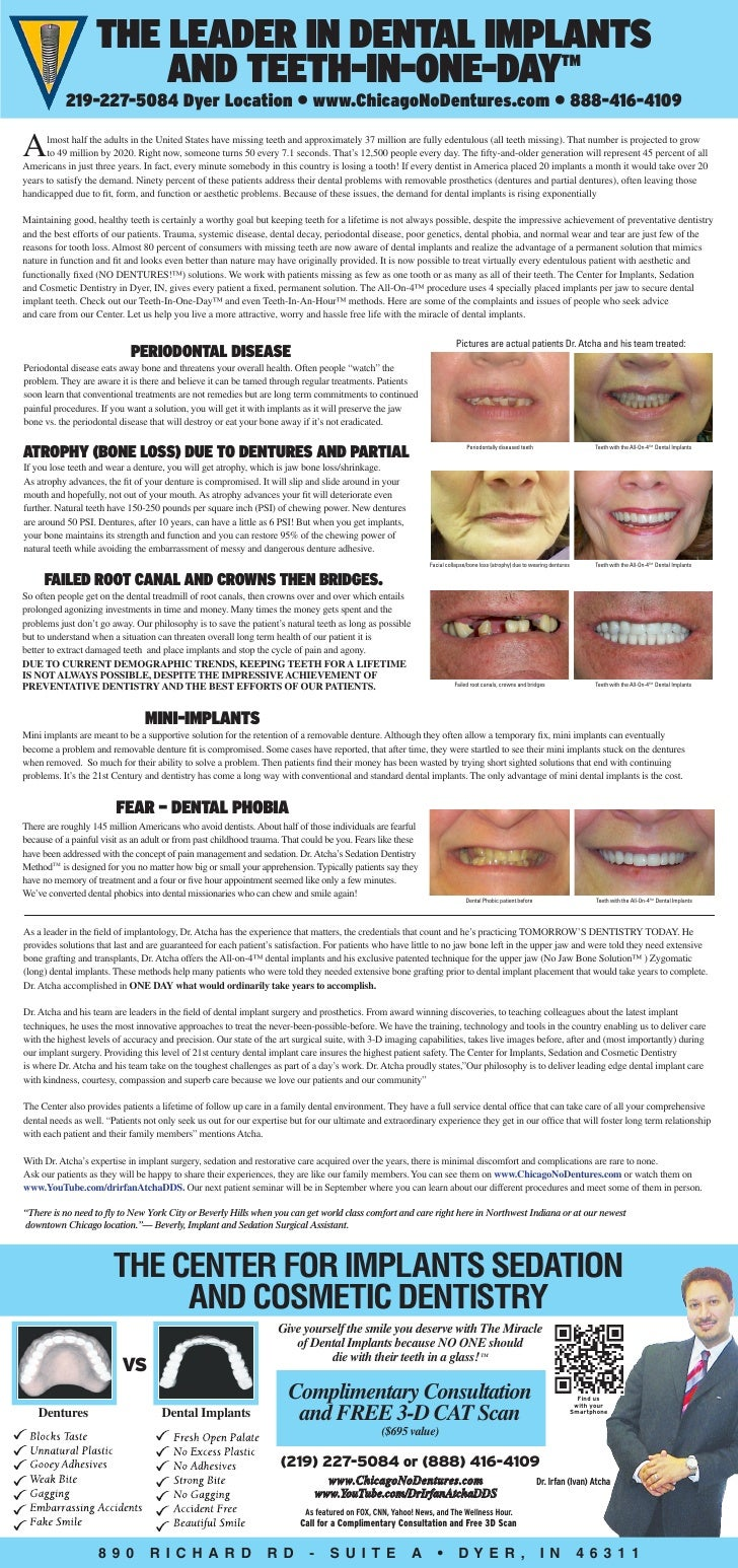 The Leader in Dental Implants                       and Teeth-In-One-Day TM           219-227-5084 Dyer Location • www.Chi...