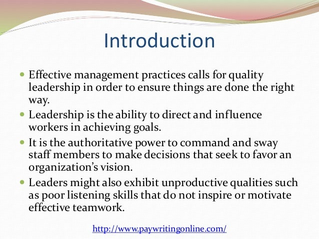 qualities of good leadership essay Brian tracy reveals the seven best leadership qualities found in successful leaders the good news is that each of these leadership traits can be learned.