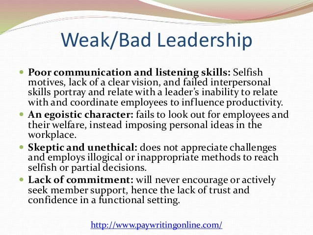 leadership characteristics essays Leadership characteristics can be generalized as either autocratic or democratic the autocratic leader tends to lead by authority and uses coercive power.