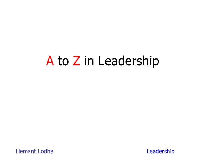 A  to  Z  in Leadership