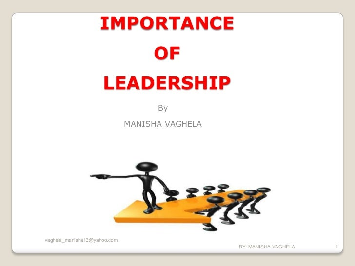 IMPORTANCE                                   OF                     LEADERSHIP                                    By      ...