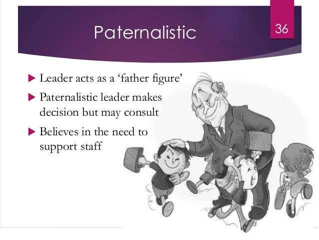 paternalistic management It is likely in an individualistic societal context, where a clear distinction is made between authoritarian and democratic forms of management (mcgregor's theory x and theory y, or likert's authoritarian, consultative, participative management), that paternalistic management does not fit neatly into one of these slots, and if it does, fits.