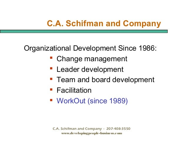 C.A. Schifman and Company Organizational Development Since 1986:  Change management  Leader development  Team and board...