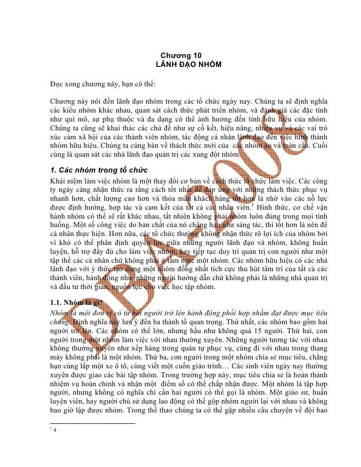Chương 10                                    LÃNH ĐẠO NHÓM  Đọc xong chương này, bạn có thể:  Chương này nói đến lãnh đạo ...