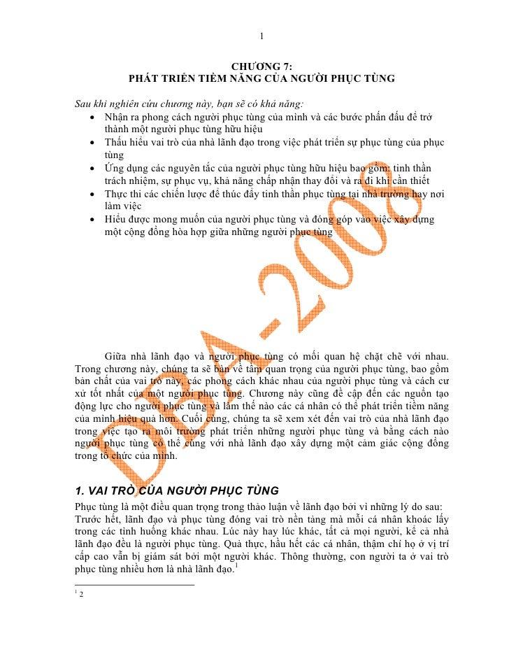 1                               CHƯƠNG 7:             PHÁT TRIỂN TIỀM NĂNG CỦA NGƯỜI PHỤC TÙNG  Sau khi nghiên cứu chương ...