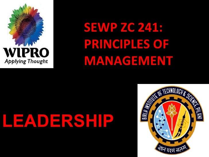 SEWP ZC 241: PRINCIPLES OF MANAGEMENT LEADERSHIP
