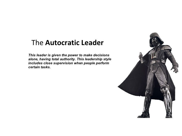 what is the autocratic leadership style Leadership styles karen plascencia b2 2315 leadership style is the way a person leads others and the way they perform and impact others either in a positive or negative way the leadership styles are: autocratic ,democratic , and laissez-faire leaders.
