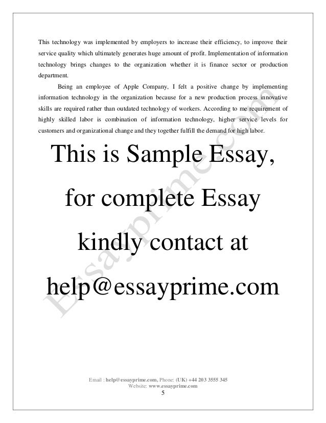 Sample Leadership Essay