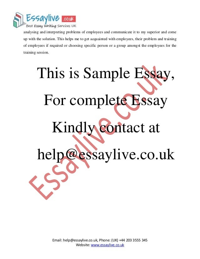 Sample of management essay