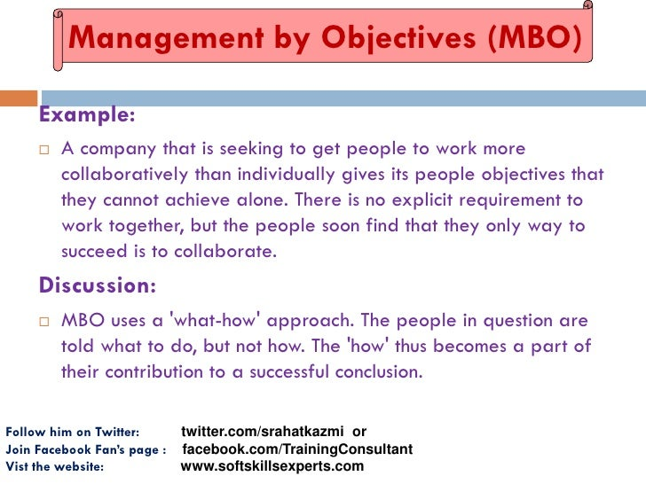 management by objectives mbo essay The term management by objectives was coined by peter drucker in 1954 the process of setting objectives in the organization to give a sense of direction to the.