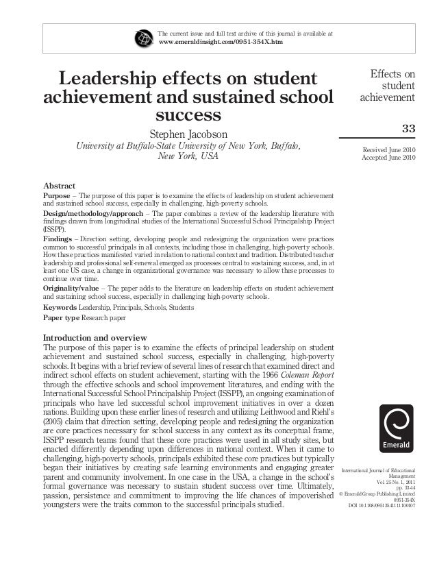 Leadership Effects On Student Achievement And Sustained School Success