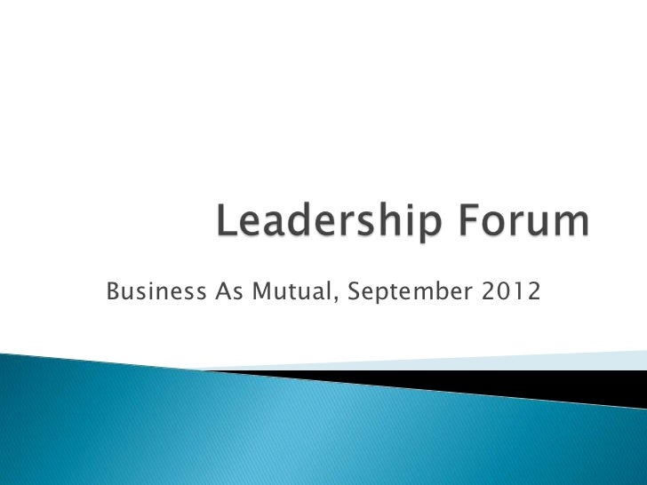 Business As Mutual, September 2012