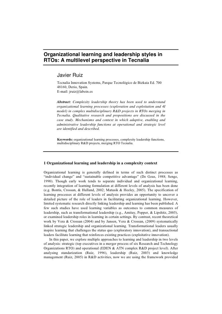 Organizational learning and leadership styles in RTOs: A multilevel perspective in Tecnalia           Javier Ruiz         ...